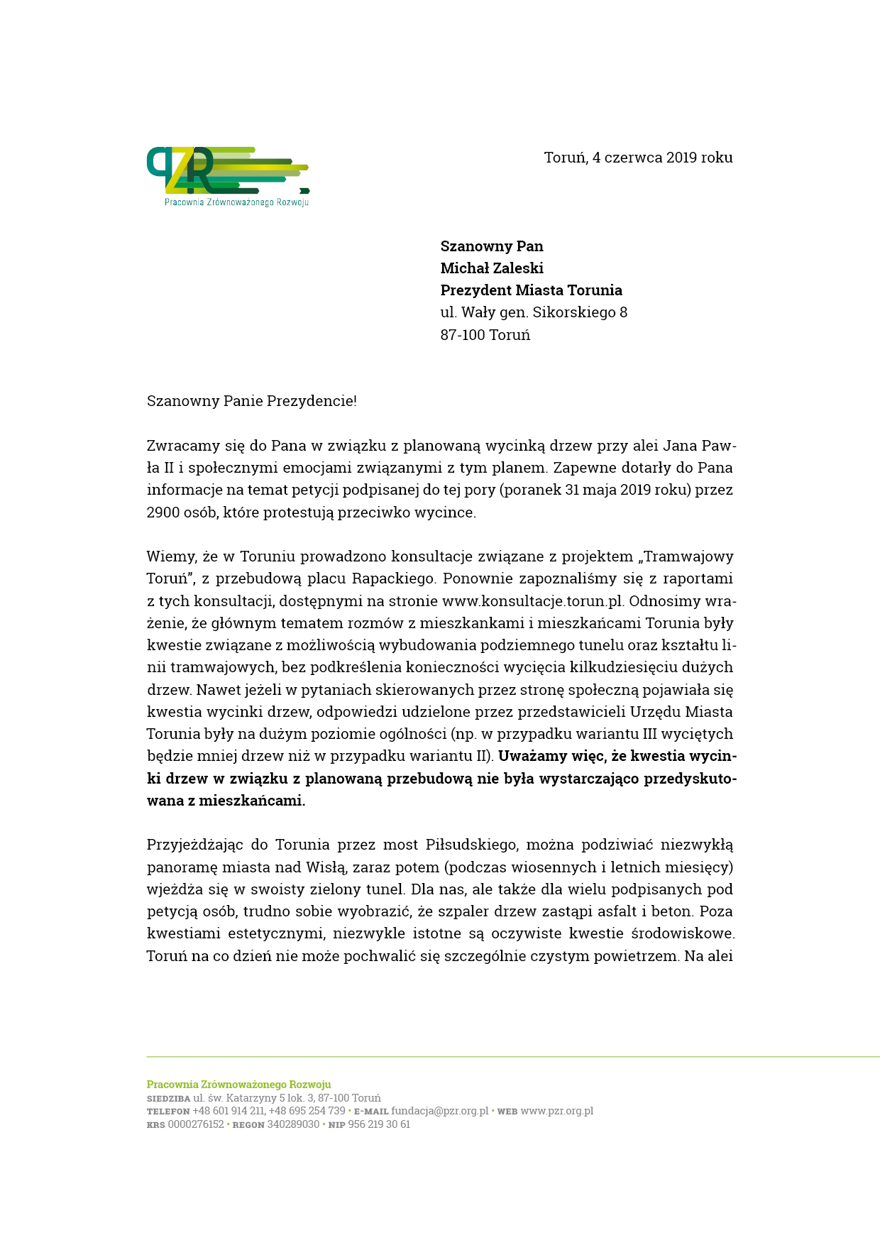 List do Prezydenta Miasta Torunia